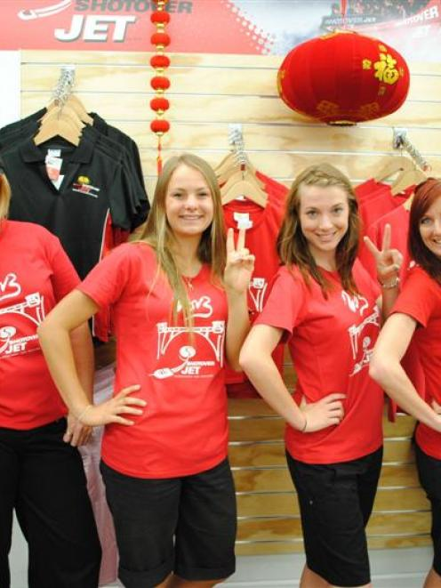 Shotover Jet staff (from left) Shaz Skelton, Tomika Terry, Jessica Barlow, and Linda Coultrip...