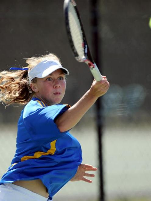 Sian English (Otago) plays a forehand during her match against Pascale Leroy (Southern Lakes)...