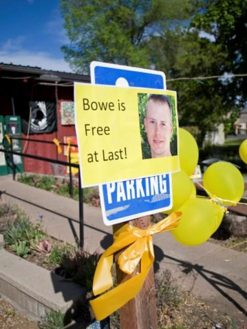 Signs of support for Bowe Bergdahl are displayed outside Zaney's coffee shop in Hailey, Idaho....