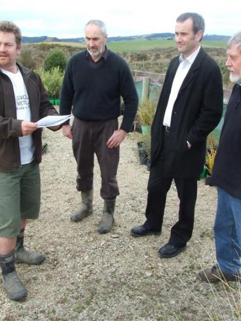 Sinclair Wetlands co-ordinator Glen Riley, Clutha district councillor Bruce Vollweiler, manager...