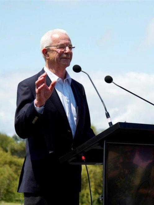 Sir George Fistonich makes a speech during Villa Maria's 50th anniversary celebrations at the...