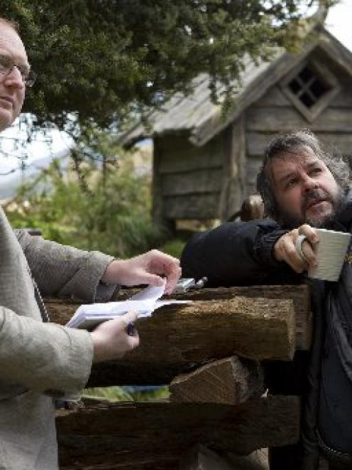 Sir Peter Jackson points out details of his set to Otago Daily Times journalist James Beech in...