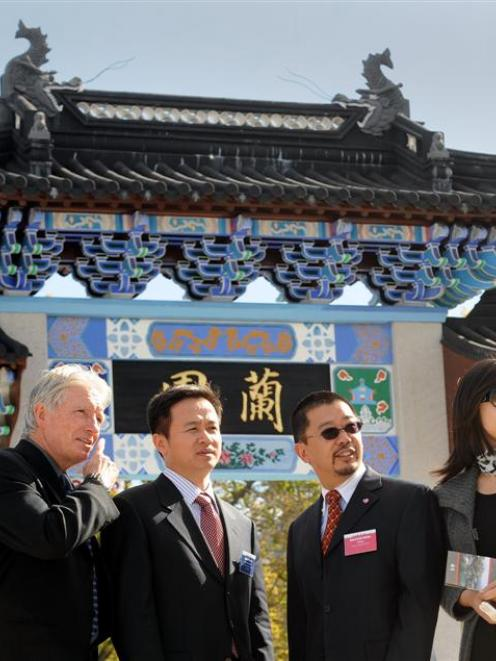 Sister Cities New Zealand Conference delegates visiting the Dunedin Chinese Garden yesterday are ...