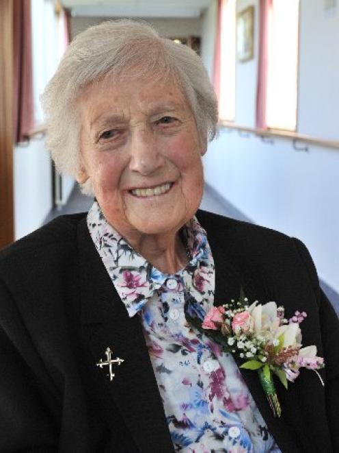 Sister Mary Winefride celebrates on the eve of her 100th birthday at Little Sisters of the Poor...