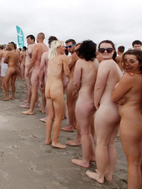 Skinny dippers prepare for a world record bid at Papamoa Beach near Tauranga at the weekend....