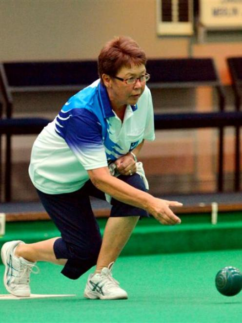 Skip Trish Marr, of the winning St Clair team,  delivers a bowl during the semifinals of the...