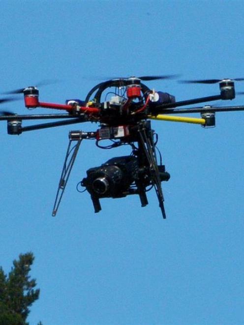 Sky TV's drone camera. Photo by Gerard O'Brien.