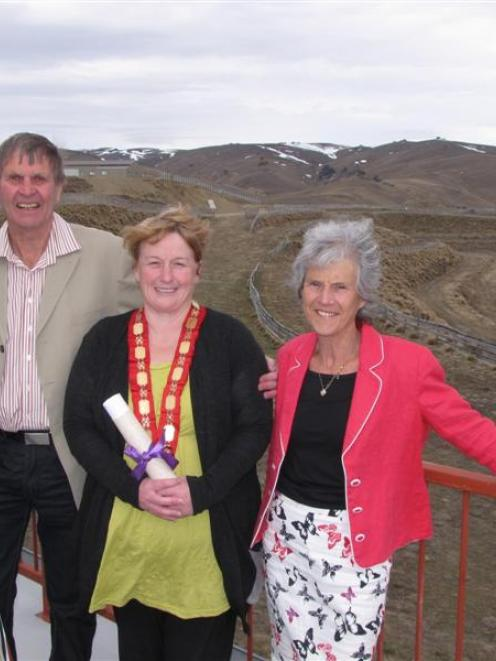 Snow Farm founders John and Mary Lee and Queenstown Lakes Mayor Vanessa van Uden (centre)...