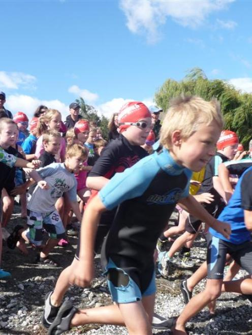 Some of the 6- and 7-year-old children taking part in the Junior Challenge Wanaka triathlon...