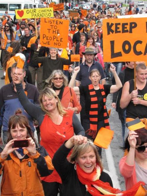 Some of the estimated 250-300 people in the Wastebusters protest march in Wanaka.