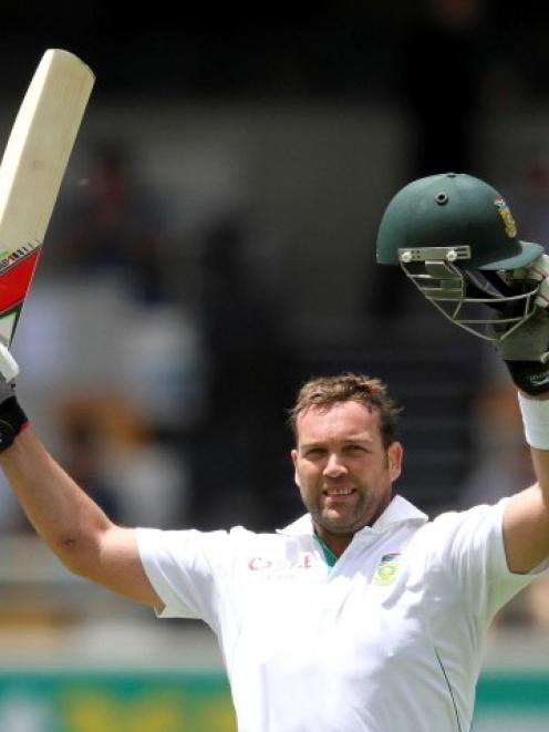 South Africa's Jacques Kallis celebrates his century against Australia during the first cricket...