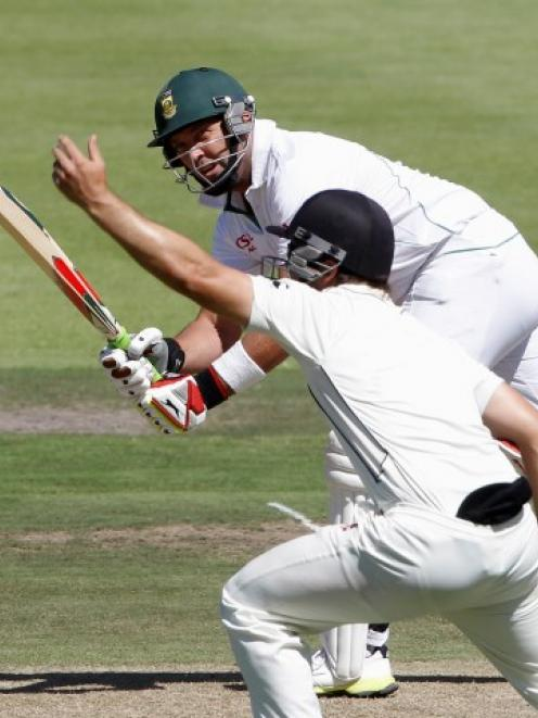 South Africa's Jacques Kallis plays a shot during the first day of the first test against New...