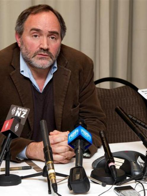 South Canterbury Finance chief executive Sandy Maier talks to the media during a press conference...
