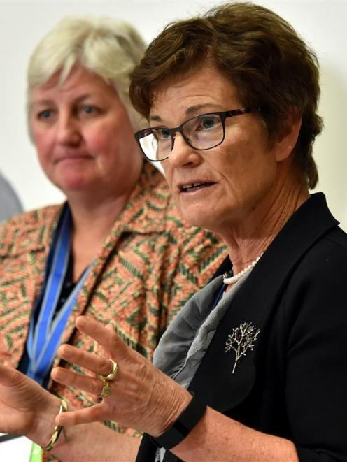 Southern District Health Board commissioner Kathy Grant and chief executive Carole Heatly at a...