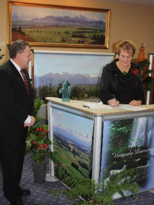 Southland Mayor Frana Cardno signs a $4 million agreement for the Government to fund the first...