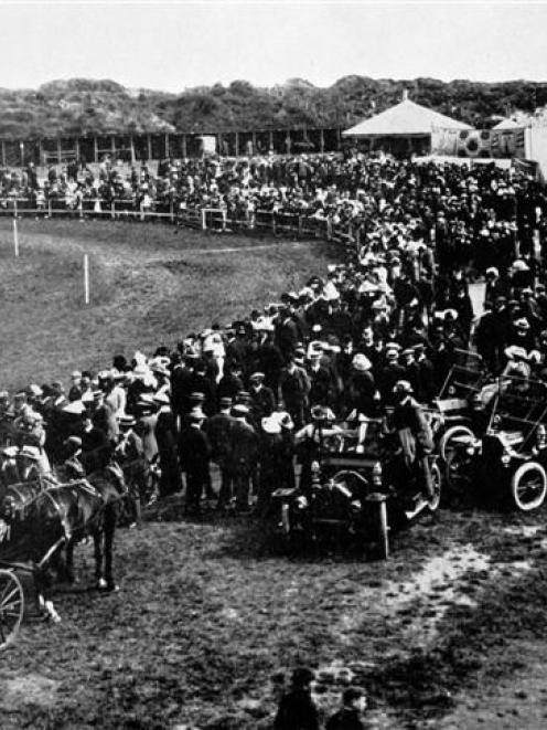 Spectators at the western end of the showgrounds on People's Day at the Otago A and P Society's...