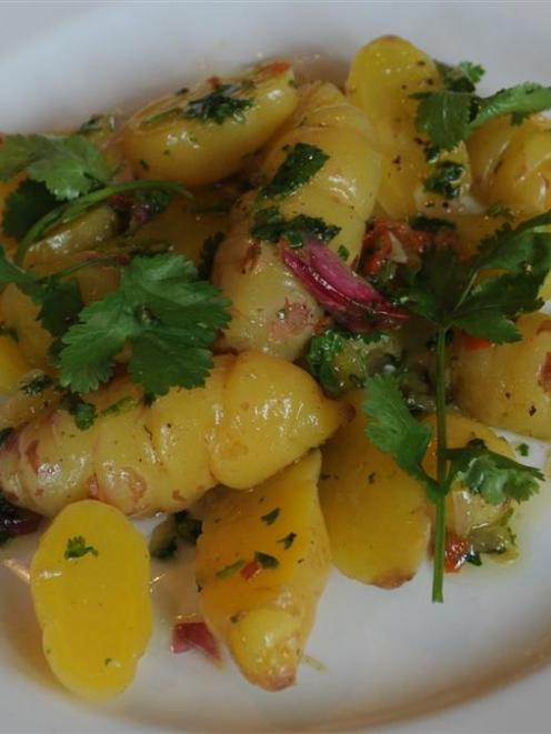 Spicy golden yam salad. Photo by Peter McIntosh.