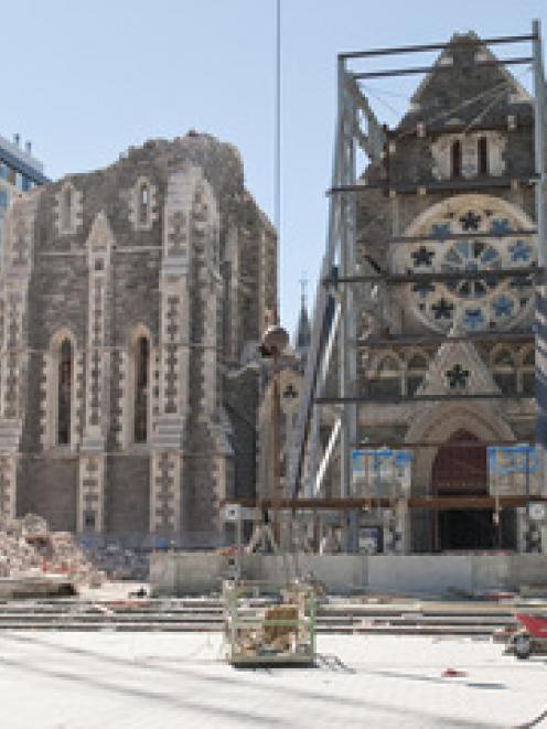 Rubble from the Christchurch Cathedral, following the 6.3 magnitude earthquake.
