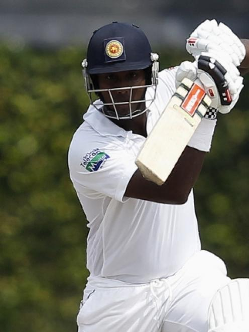 Sri Lanka's Angelo Mathews plays a shot during the final day of the second and final test cricket...