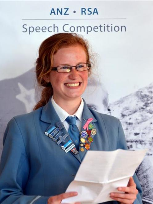 St Hilda's Collegiate School pupil Ihlara McIndoe after winning the ANZ RSA Cyril Bassett VC...