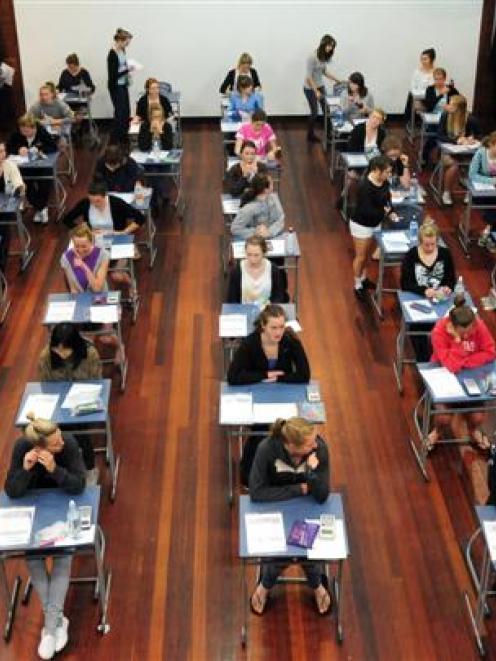 St Hilda's Collegiate School year 11 pupils prepare to start their NCEA level 1 maths exam...