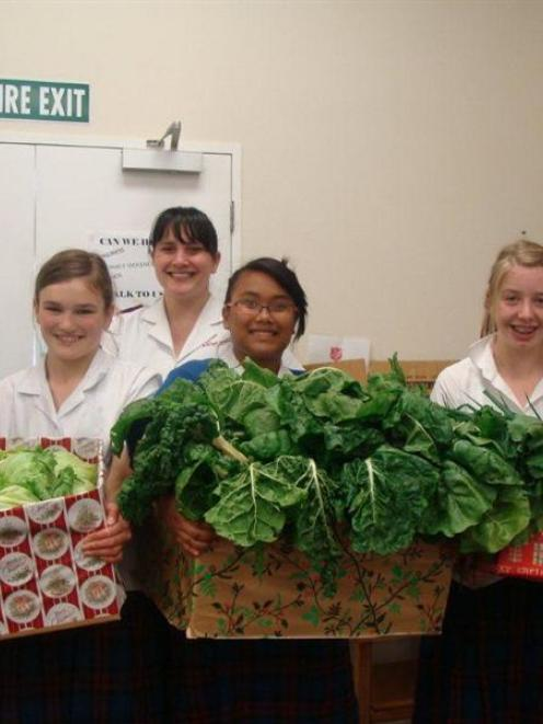 St Joseph's School Young Vinnies Sophie Dempster (11), Alice Murray (12), Jessary Garcia (13) and...