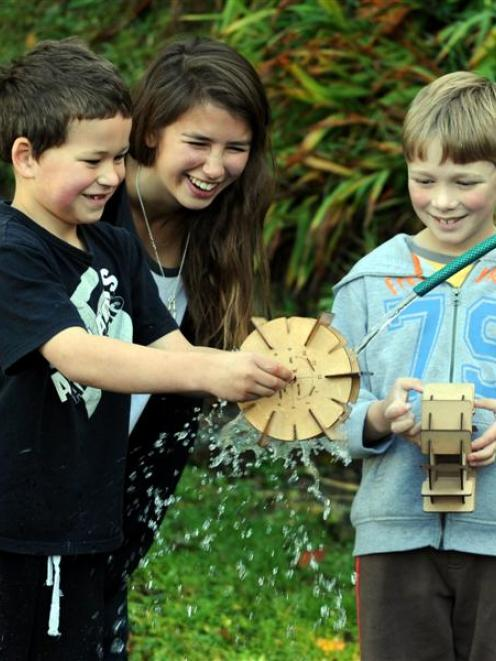 St Leonards School pupils  Beau Lundy (left) and Thomas Liebergreen (both 7) test a kitset water...