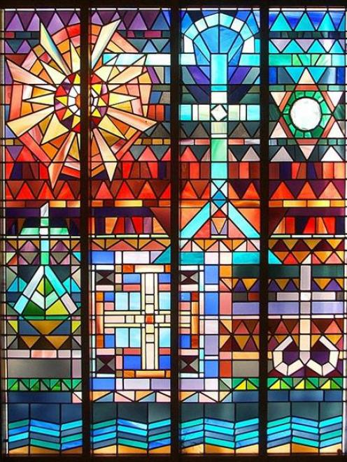 Stained glass window, by Elizabeth Stevens.