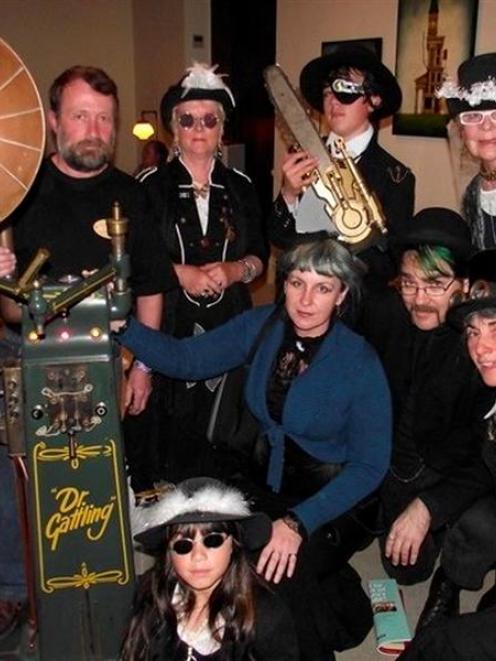 Steampunk Oamaru meets Steampunk Melbourne (rear, from left) Peter Fleury, of Dunedin, Helen...