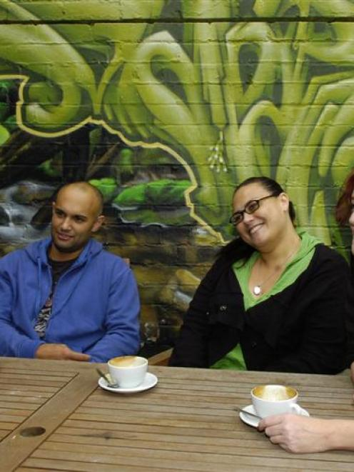 Stella Graham, Matiaha Paku, Irene Pink and Justine Smith in Dunedin yesterday. Photo by Jane...