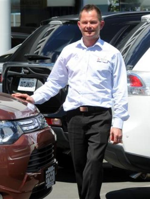 Stephen Duff in his Andersons Bay Rd Stephen Duff Mitsubishi car yard. Photo by Craig Baxter.