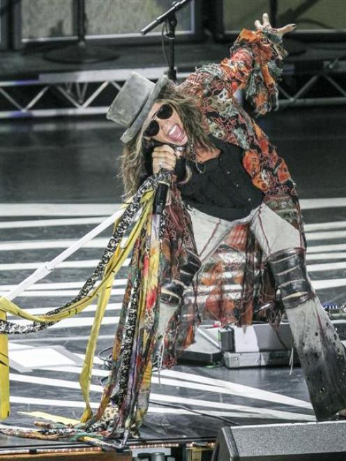 Steven Tyler in action at the Aerosmith concert in Sydney at the weekend. Photo by Aaron Saye/www...