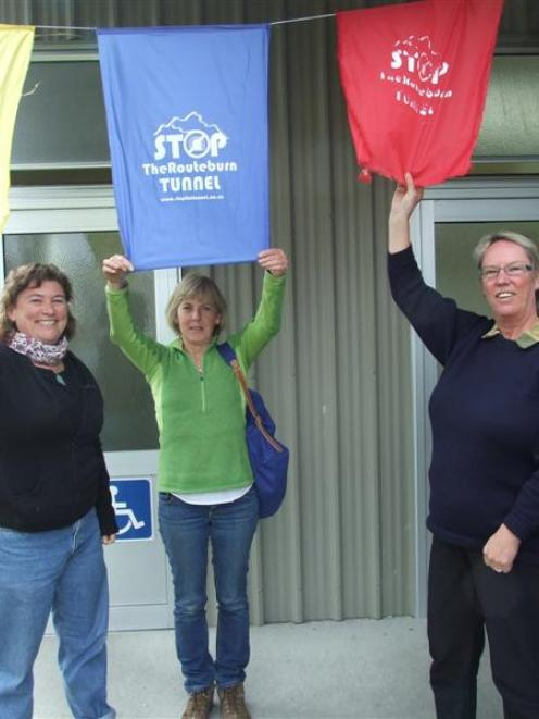 Stop the Tunnel members Leslie van Gelder (left) and Trish Fraser (centre) are joined by the...