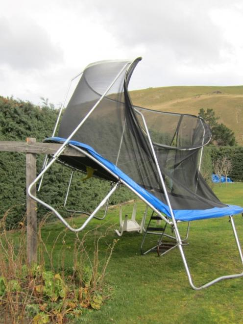 Strong winds blew a trampoline on to a washing line in Miller's Flat. Supplied Photo