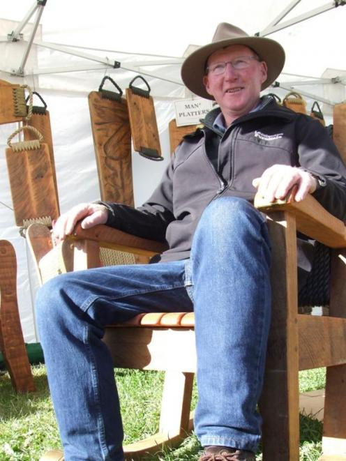 Stu Robbie rocks away at his stand at the Canterbury A and P Show in Christchurch this week....