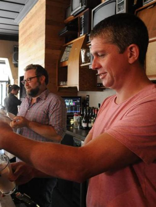 Stuart St Brew Bar owner Richard Newcombe (foreground) with his general manager Duncan Robertson....
