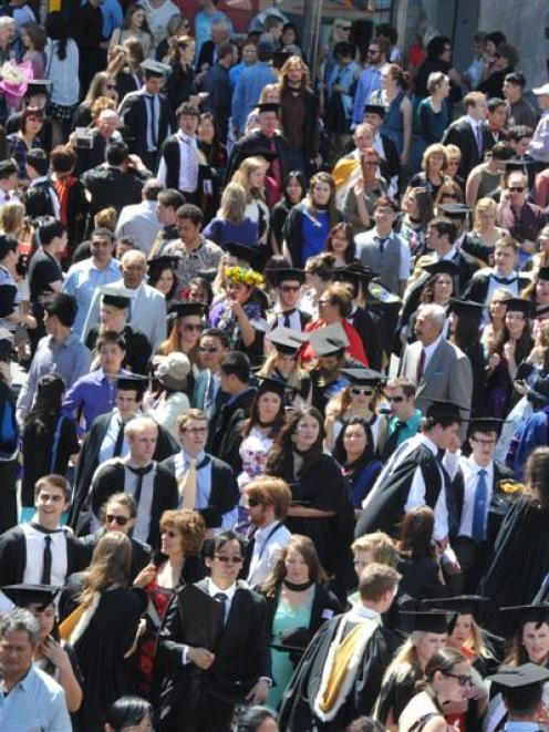 Students from the University of Otago on graduation day. Photo by Craig Baxter.