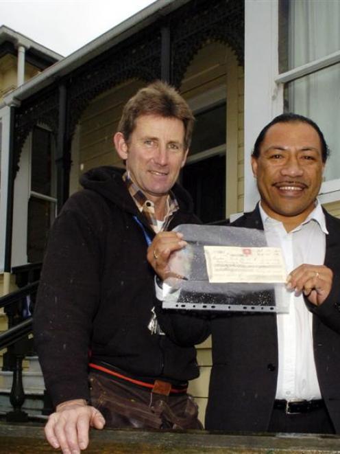 Studholme College head Ziggy Lesa (right) and maintenance supervisor Brian Hamilton outside...