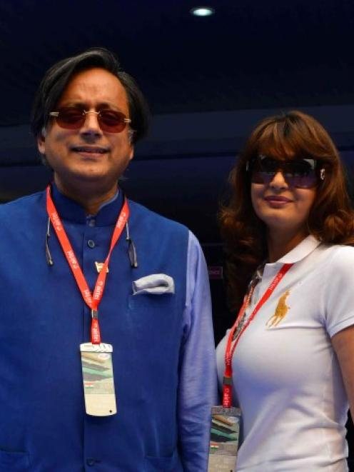 Sunanda Puskhar Tharoor and her husband Shashi Tharoor attend the Indian F1 Grand Prix on the...