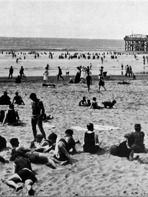 Surf bathing at one of the popular Christchurch seaside resorts: A Sunday morning scene on New...