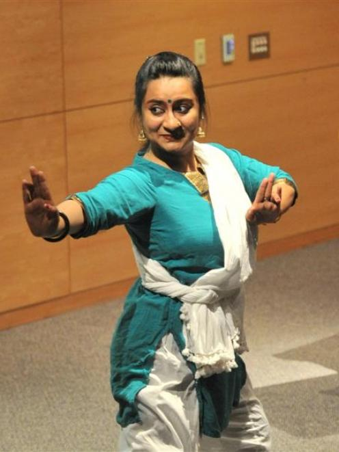 Swaroopa Unni, a University of Otago PhD student, demonstrates Indian dances linked to Indian...