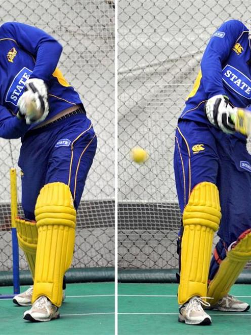 Switch-hitting Otago all-rounder Ian Butler shows his versatility during a training session at...