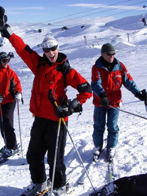Sydney visitors (from left) Daniel Bone, Scott Web and Tim Vial enjoy 2009 Gay Ski Week at...