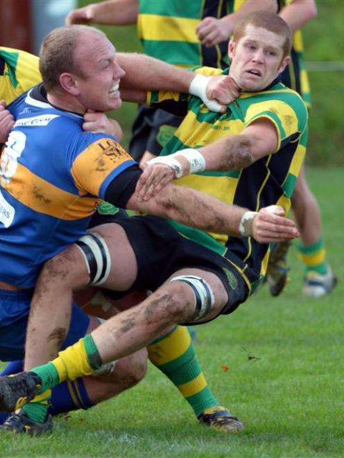 Taieri captain Charlie O'Connell in action against Green Island in May. Photo by Gerard O'Brien.