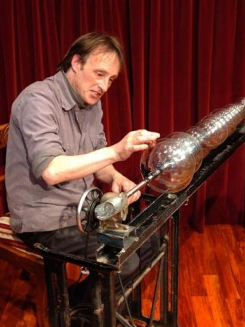 Taieri Mouth sound artist Alastair Galbraith plays a glass armonica.
