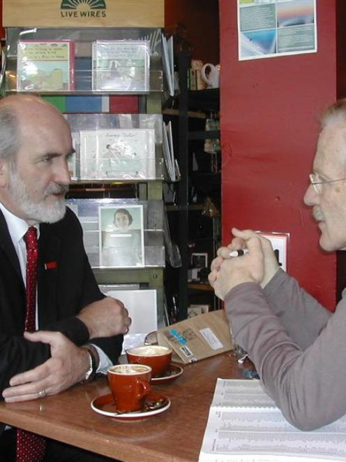 Taupo MP Mark Burton (left) talks tactics to supporter Iain Loan, a general practitioner in the...