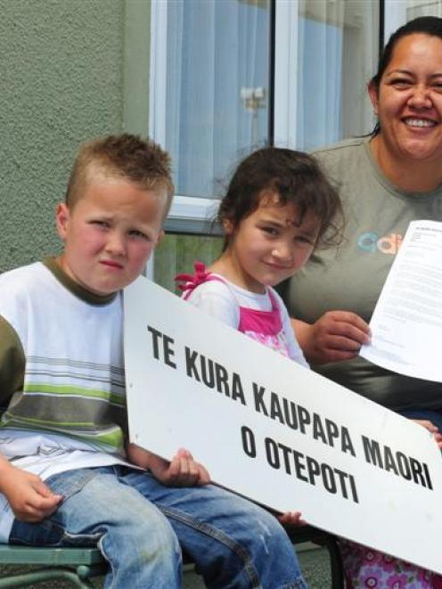Te Kura Kaupapa Maori O Otepoti pupils (from left) Matiu Morgan (6) and Maia Rakete-Gray (5), and...