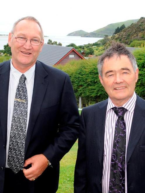 Te Runanga o Ngai Tahu kaiwhakahaere Mark Solomon (left) and Dunedin Mayor Dave Cull, at an...