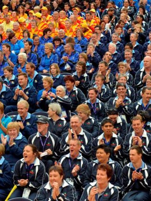 Teams take their seats during yesterday's Special Olympics  opening ceremony. Photo by Gerard O...