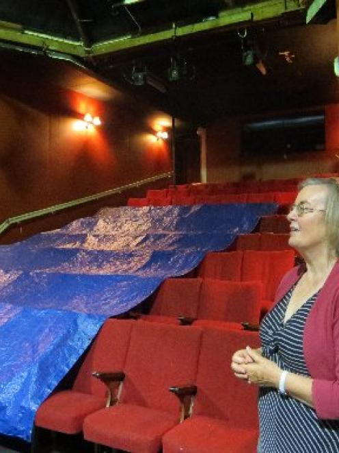 Temporary solution . . . Friends of the Globe Theatre chairwoman Rosemary Beresford stands next...